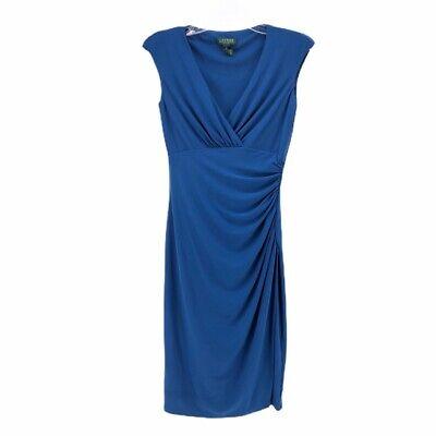 Lauren Ralph Lauren Womens Sheath Dress Blue Draped V Neck Ruched Pleats Party 2