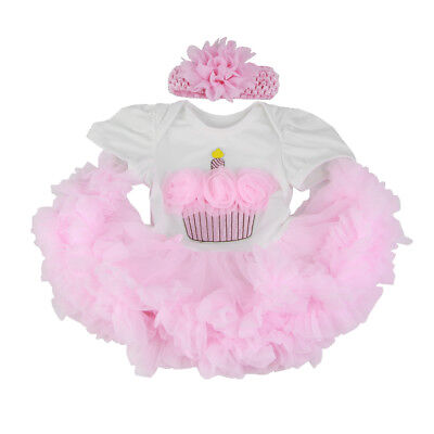 """Pink Rompers Dress Headband Suit for 22""""-23"""" Reborn Baby Girl Dolls Clothes"""