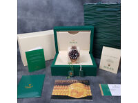 Rossco's Watches. Rolex GMT-Master 2. Rose Gold Bracelet with Black Face. New and Boxed with Papers