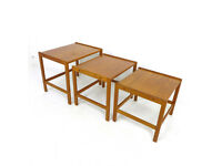 Vintage Danish Nest of Tables - Mid Century Retro Coffee/Lamp/End/Side Teak MCM Furniture Nesting