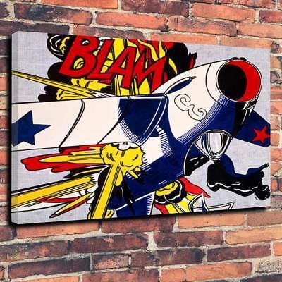 """Pop Art Printed Box Canvas A1.30""""x20""""-Deep 30mm Frame Roy Lichtenstein style V5."""