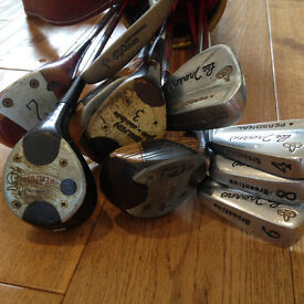 Ten golf clubs and bag