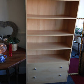 Attractive Light Beech Effect Bookcase with Drawers