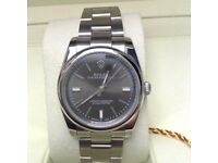 New Mens bagged Silver Bracelet rhodium dial blue festures automatic Rolex Oyster watch