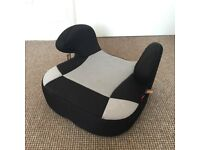 Child's grey car booster seat