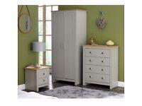 Lancaster 3 Piece 2 Door Wardrobe Chest of 4 Drawers Bedside table Bedroom Set Furniture - Grey