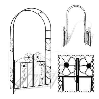 Metal Garden Arch with Door Gate Arched Gateway Rose Climbing Plant Flower Patio