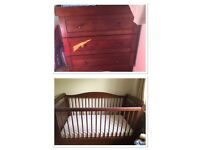 Wooden soiled oak cot bed and draws
