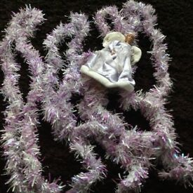 Christmas tinsel x4 lilac pearlized and White and Angel tree topper