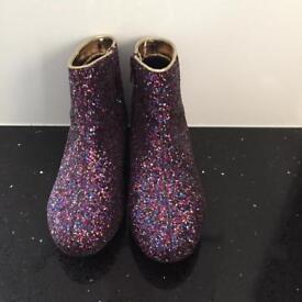 Girls multi coloured glitter boots - Size 1