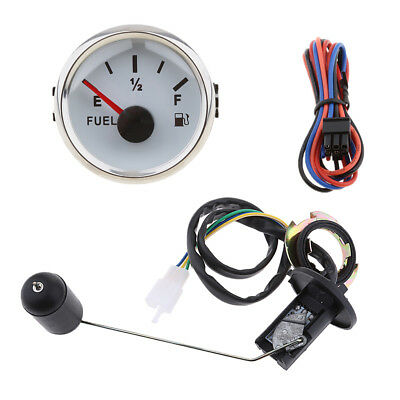 NEW 52mm Fuel Level Gauge Meter & Fuel Sensor E-1/2-F Pointer Trim Kit