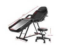 Barber Salon Chair Reclining Massage Tattoo Chair Beauty Couch Bed Stool Black