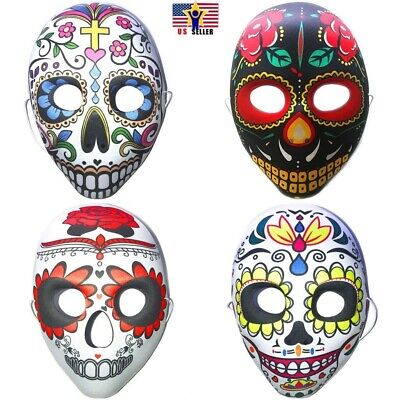 Day Of Dead Halloween Mask (Halloween Day of The Dead Sugar Skull Mask Costume Dia de Los Muertos)
