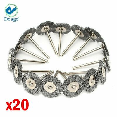 20pc Stainless Steel Wire Brush Fit Dremel Rotary Tool Die Grinder Removal Wheel