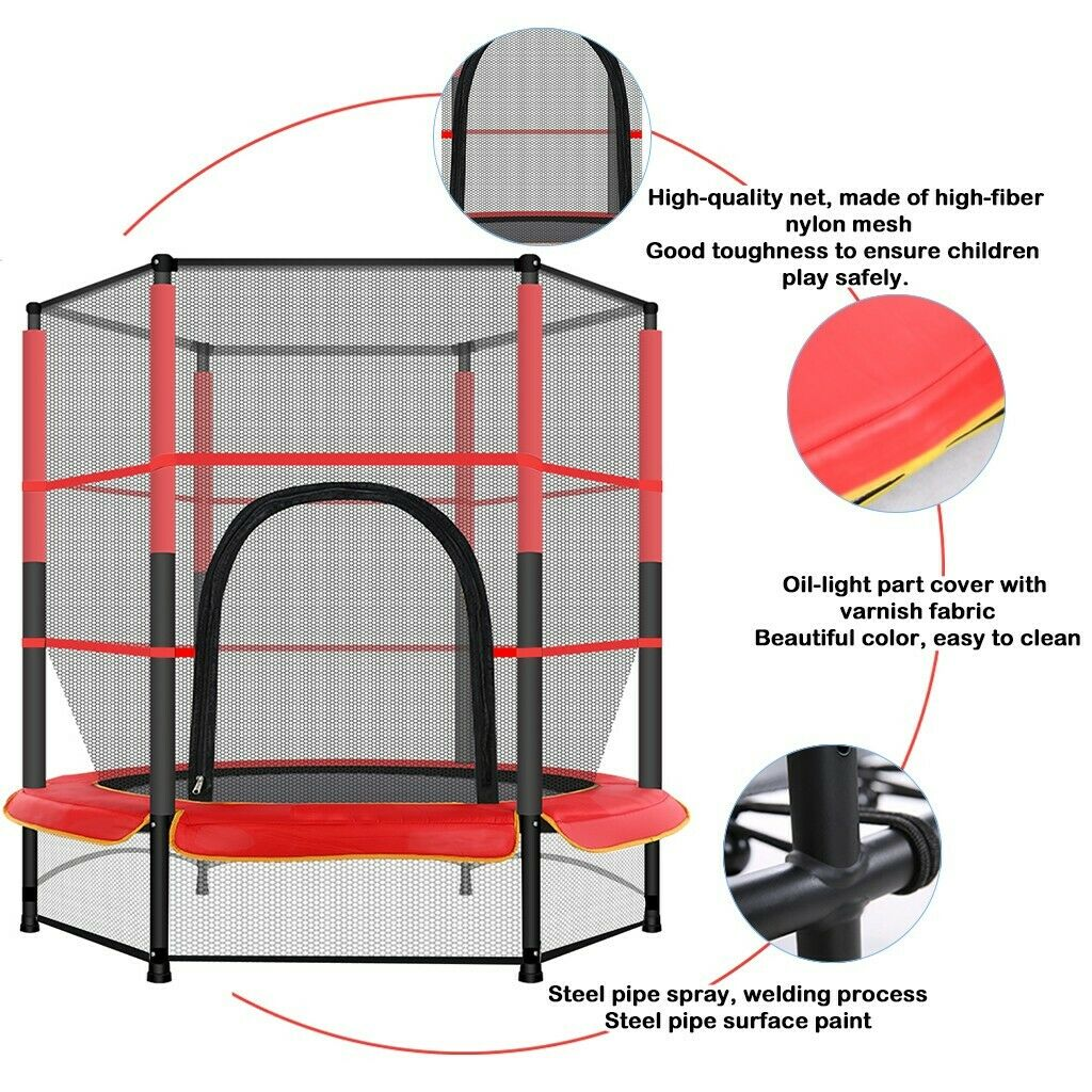 5FT Mini Jumping Round Trampoline Exercise Safety Enclosure US