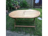 HARD WOOD GARDEN TABLE & 5 CHAIRS