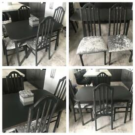 Grey shabby chic extendable dining table & 4 crushed velvet Chairs/ Farrow & Ball
