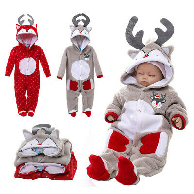 Christmas Baby Toddler Reindeer Costume Romper Hooded Jumpsuit Bodysuit Outfit - Reindeer Costume Baby