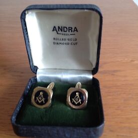 Masonic Rolled Gold Diamond Cut Cufflinks