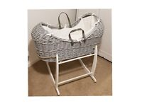 Grey Wicka Moses Basket 0-6 Months (inc rocking stand)