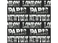 5 rolls of brand new London, Paris, New York wallpaper