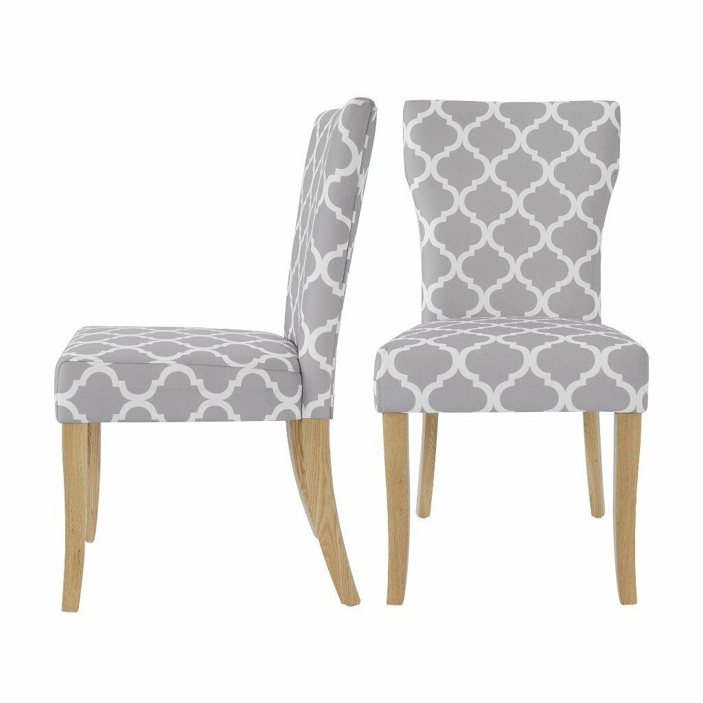 Set Of 2 Grey/White Fabric Dining Table Chairs with Oak Legs NEW