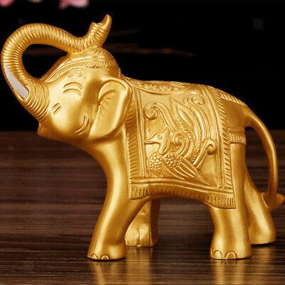 Chinese Lucky Waving Money Wealth Money Elephant Figure Feng Shui Decor Gold