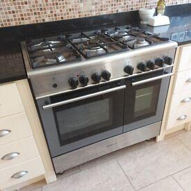 90cm Dual fuel gas hob electric oven -