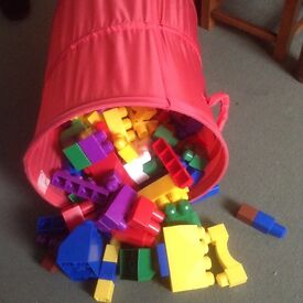MEGA BLOKS. Approx 180. Red, yellow, blue, green.