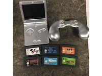 Gameboy Advance SP Silver + 6 Games including Crash, Spyro & Onimusha Tactics