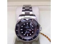 New Mens bagged and boxed silver bracelet with black face black bezel Rolex Seadweller automatic