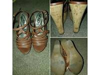 Womens brown leather wedges