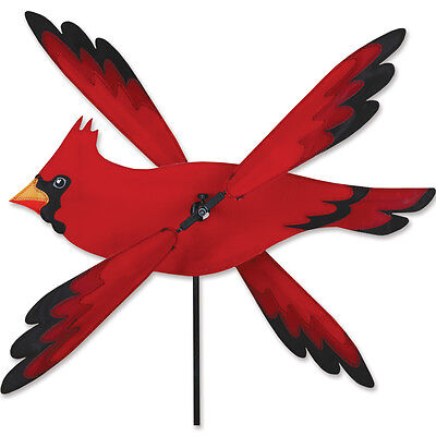 Red Cardinal Bird Whirligig Wind Spinner Small 17""