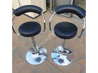x2 black leather bar stools