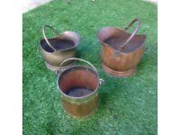 Copper/brass coal scuttles