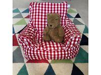 JoJo Maman gingham bean bag chair - excellent condition