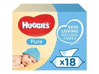 Huggies Pure Baby Wipes 18 pks - brand new in box. Fragrance free