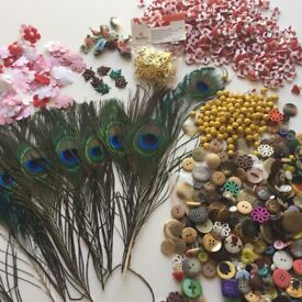 Joblot Bundle Sewing Craft Scrapbooking Beads Feathers Buttons Flowers Bees