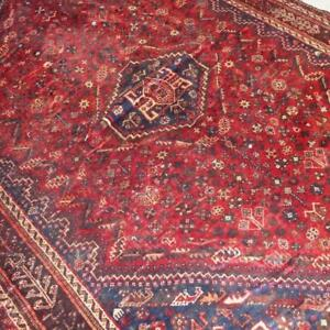 Shiraz Semi-Antique Persian Rug , Handmade Carpet, Wool, Red, Beige, Blue & Burgundy Size: 9.10 X 7.1 ft