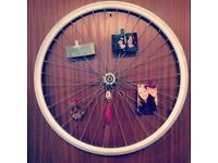 Bike wheel photo frame