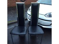 2 dining chairs black and chrome