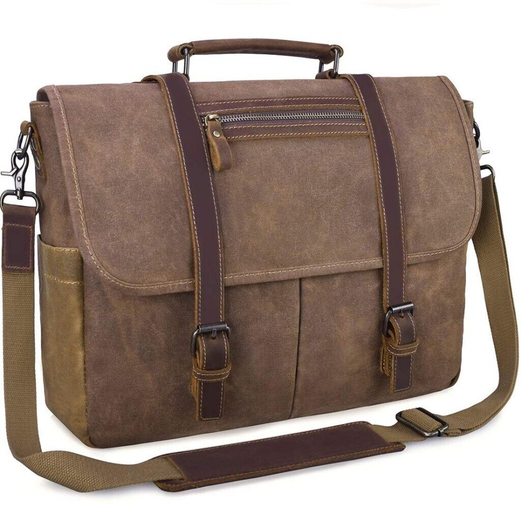 ecb9e5587 Men's Messenger Bag Waterproof Computer Leather Satchel Canvas Vintage Bag
