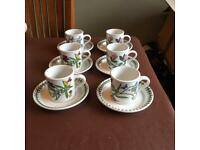 Portmeirion Botanic 6 coffee cups & saucers