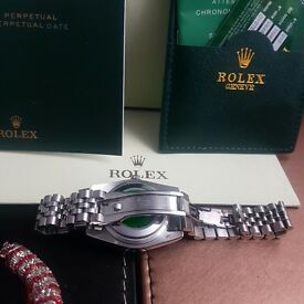 New Boxed ladies silver Rolex Datejust with purple face & all Silver Strap including Rolex Box&bag