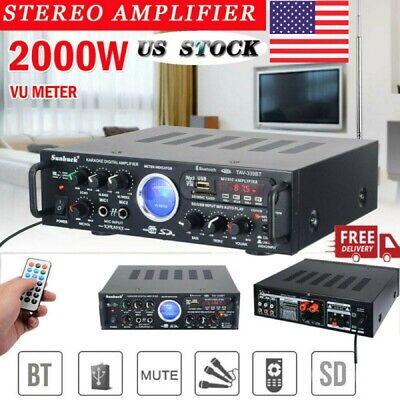 2000W VU 110V Bluetooth Power Amplifier Car Home Stereo 2 Channel AMP FM Audio