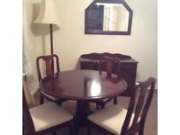 Mahogany furniture,table and 4 chairs sideboard mirror,and standing lamp