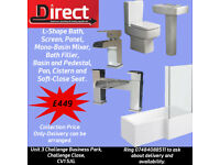 Brand New L-Shape Bath Suite- With Bath Panel Screen Designer Toilet & Basin Waterfall Tap Set