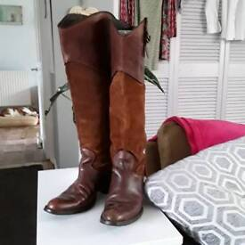 Leather and suede knee high boots size 5