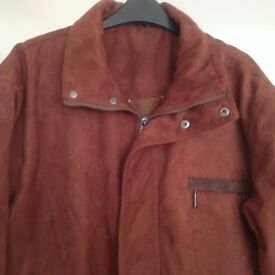 MAN'S TAN FAUX SUEDE WINTER JACKET - SIZE L