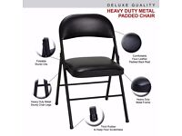 DNY Homeware Strong Metal Frame Faux Leather Padded Folding Office Chair